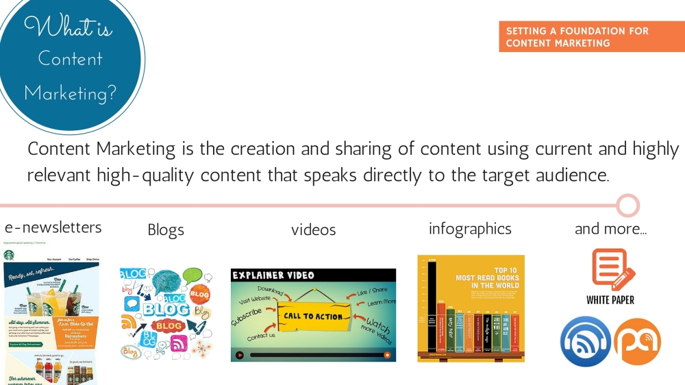 Content Marketing defined. What elements are part of a content marketing strategy?